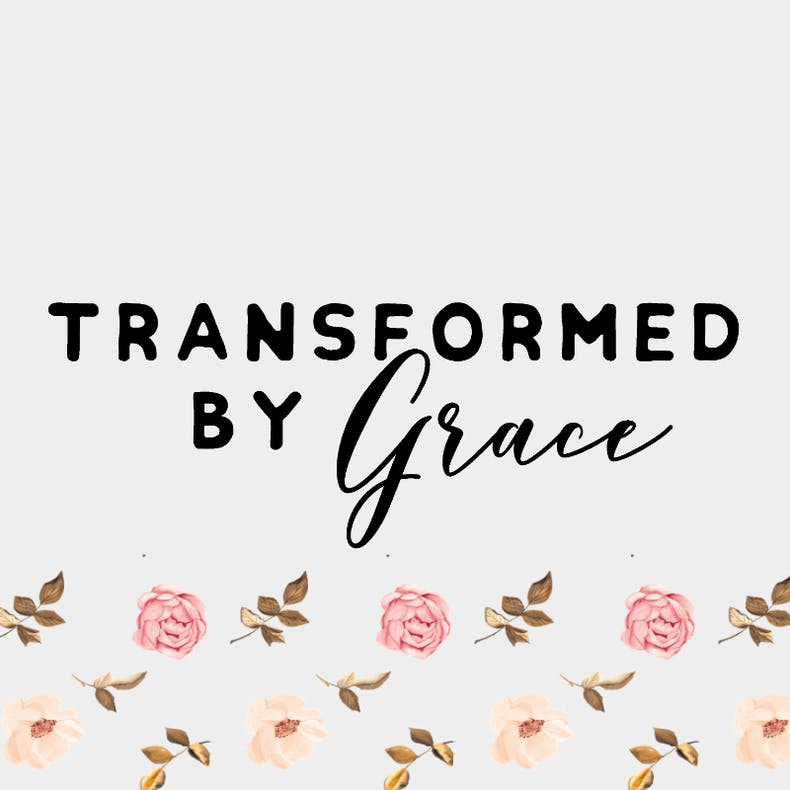 Transformed by Grace logo on white background with floral border underneath at Cheerfully Given
