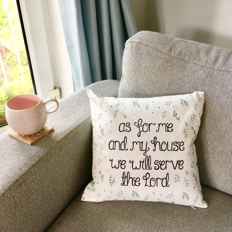 As for me and my house Christian Cushion | Treasured Creativity | Cheerfully Given