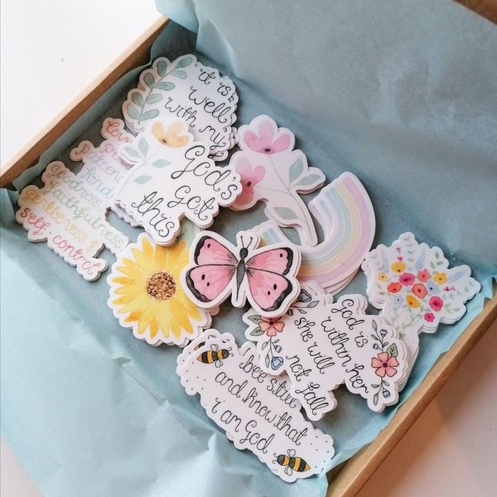 Assortment Of Floral Vinyl Stickers   Treasured Creativity   Cheerfully Given - Bible Journaling Stickers UK