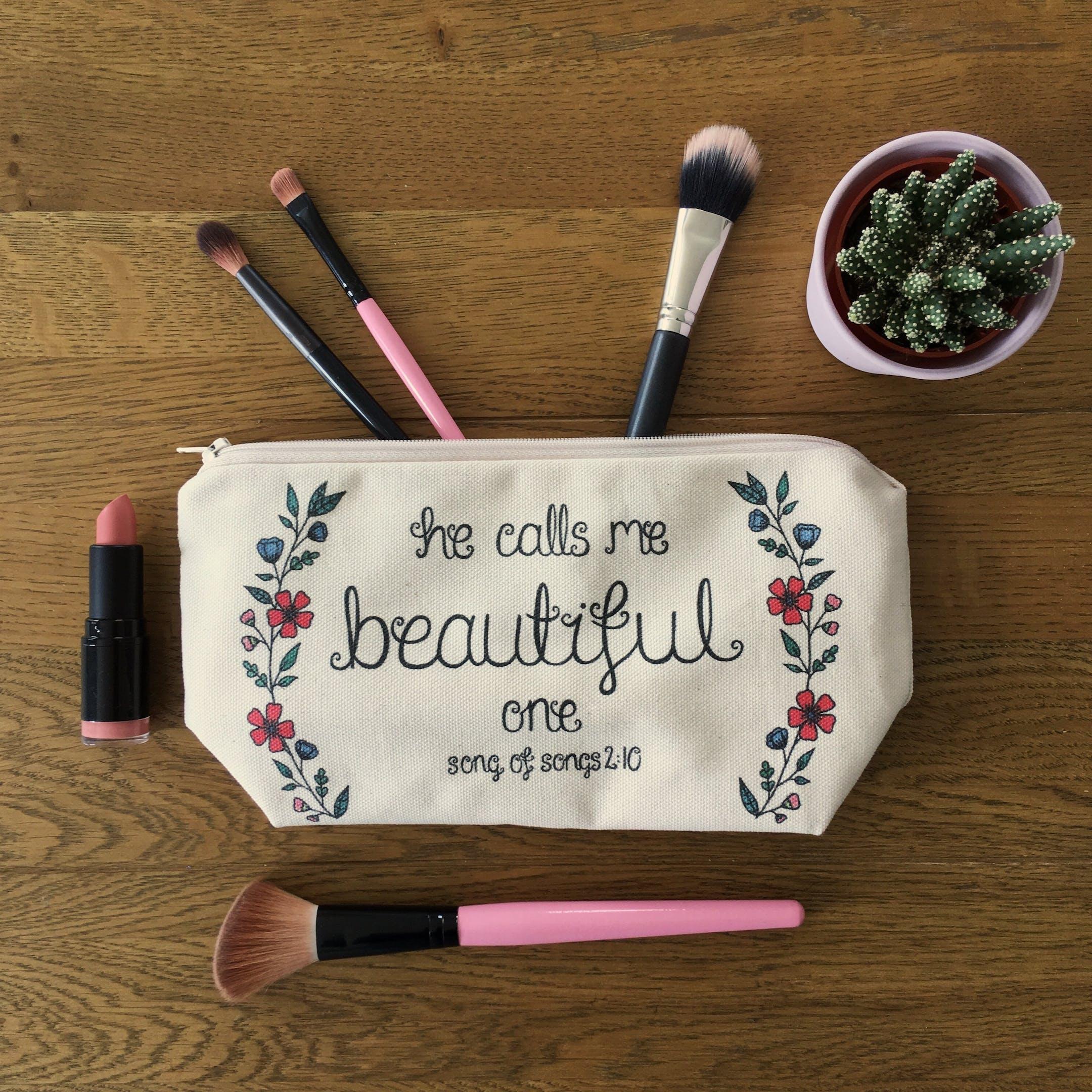 He Calls Me Beautiful Christian Makeup Bags | Treasured Creativity | Cheerfully Given - Christian Gifts UK