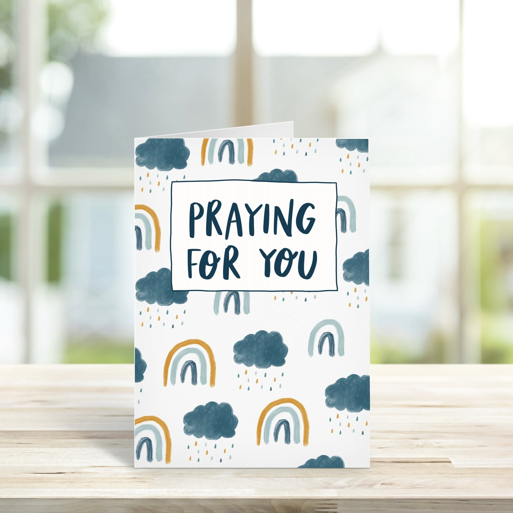Rainclouds and Rainbow Praying for you Card   The Lettering Tree   Cheerfully Given