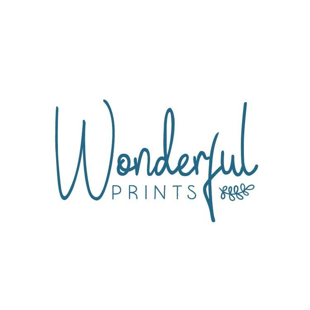 Blue font logo saying Wonderful Prints | Cheerfully Given