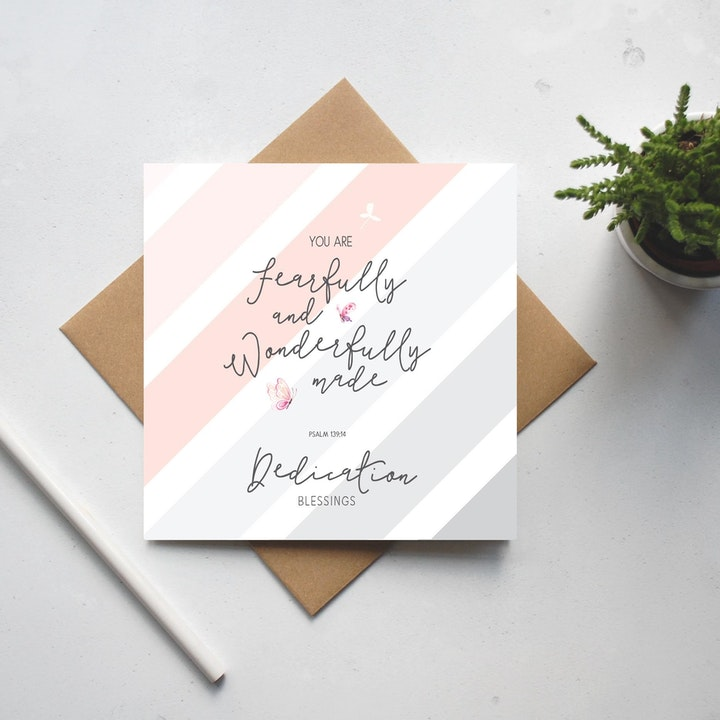 You Are Fearfully and Wonderfully Made Dedication Card - Psalm 139:14