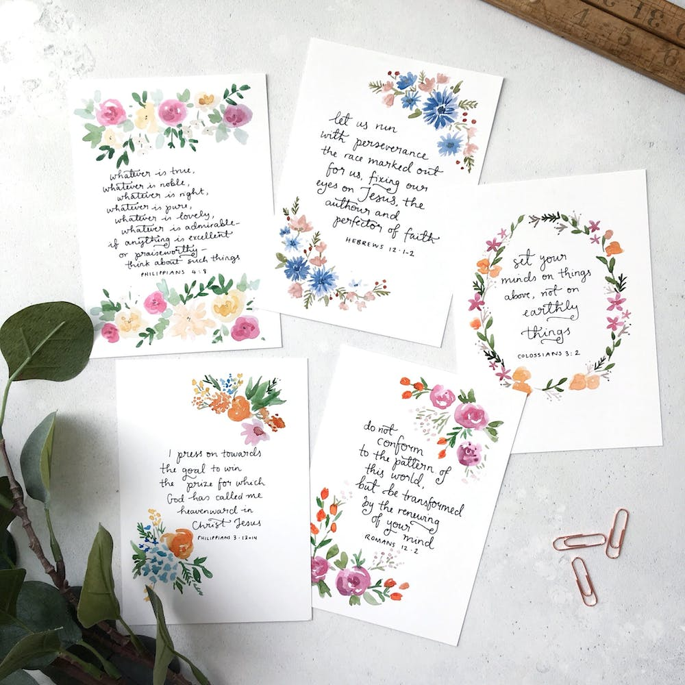 Christian Encouragement Cards | Floral Scripture Cards | Zoeprose