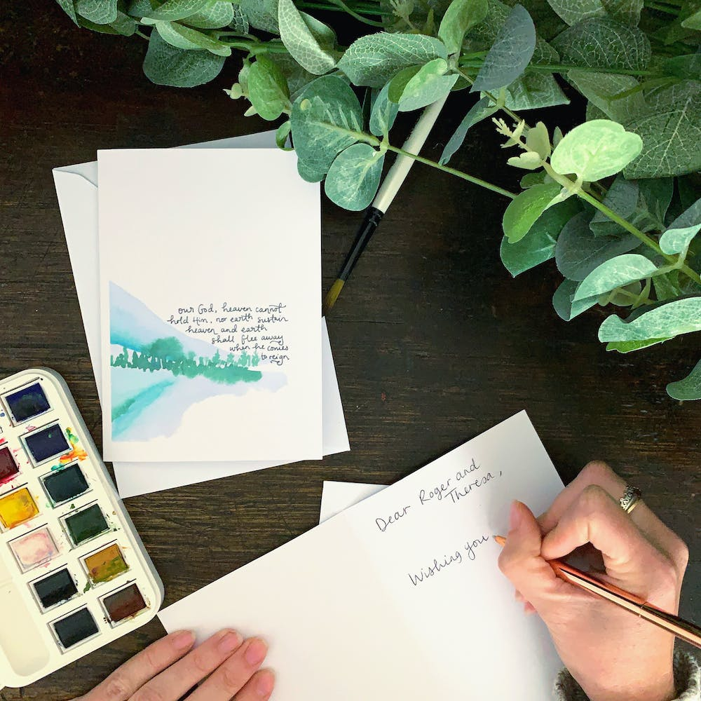 Writing watercolour Scripture card | Zoeprose | Cheerfully Given