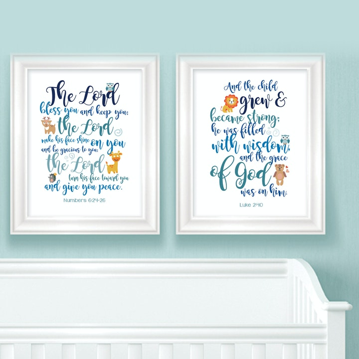 Animal Baby Room Bible Verse Prints - Numbers 6:24-26 & Luke 2:40 - Nova Grace