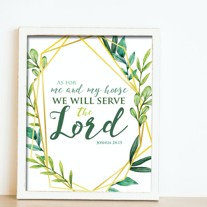 'As for me and my house we will serve the Lord' Print - Joshua 24:15 - Nova Grace