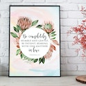'Be Completely Humble and Gentle' Print - Ephesians 4:2 - Nova Grace