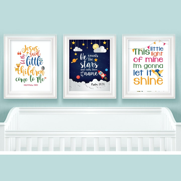 Colourful Baby Room Prints - Set of 3 - Psalm 147:4 & Matthew 19:14 - Nova Grace