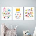 Colourful Kids Room Bible Verse Prints - Set of 3 - Galatians 5:22-23 & Psalm 139 - Nova Grace