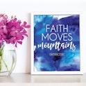 'Faith Moves Mountains' Scripture Print - Matthew 17:20 - Nova Grace