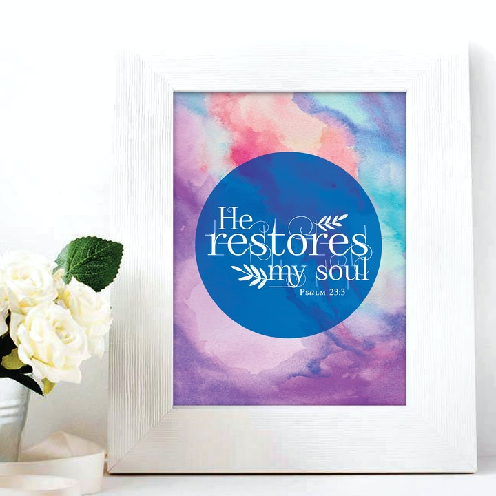 'He Restores My Soul' Print - Psalm 23:3 - Nova Grace