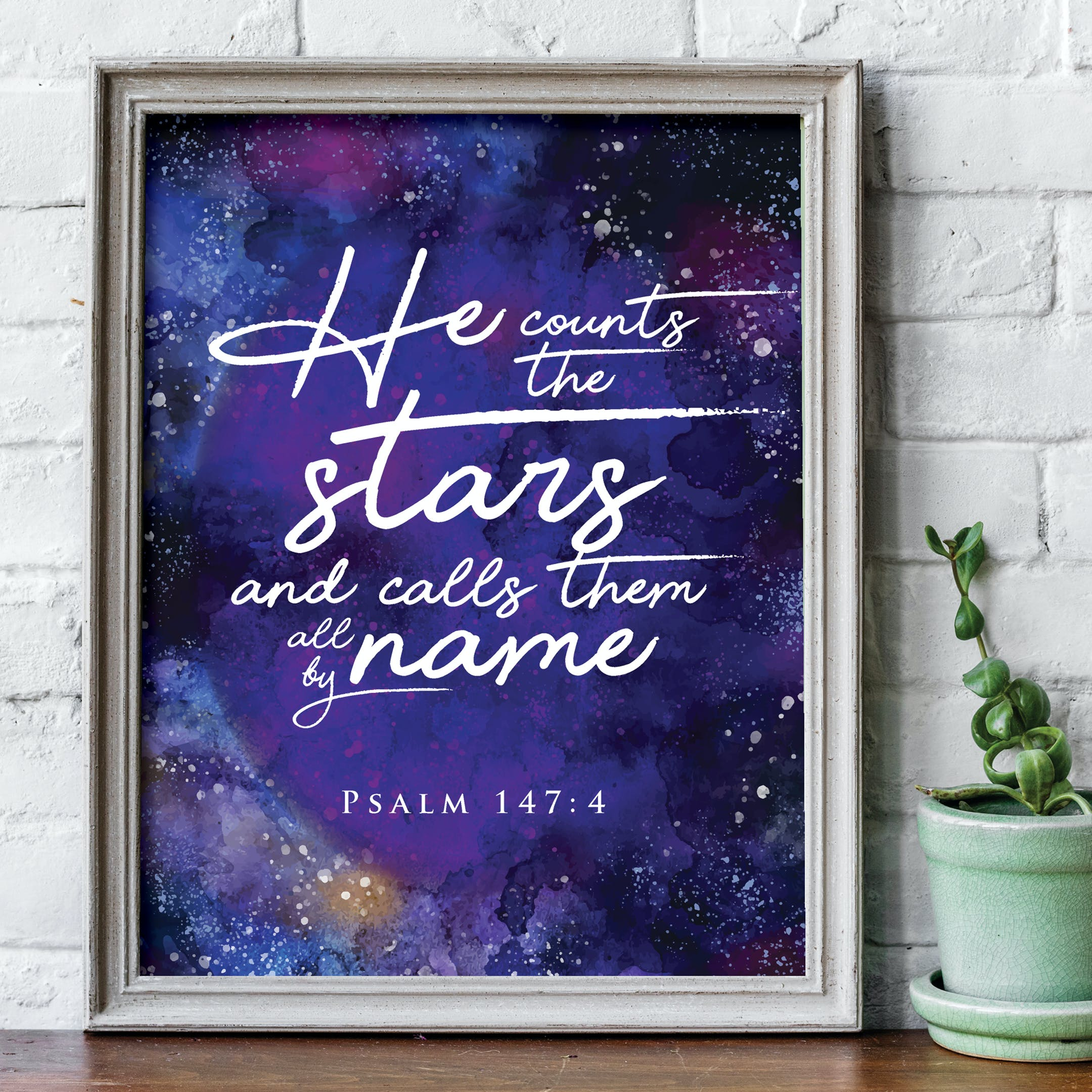 'He counts the stars and calls them all by name' Print - Psalm 147:4 - Nova Grace