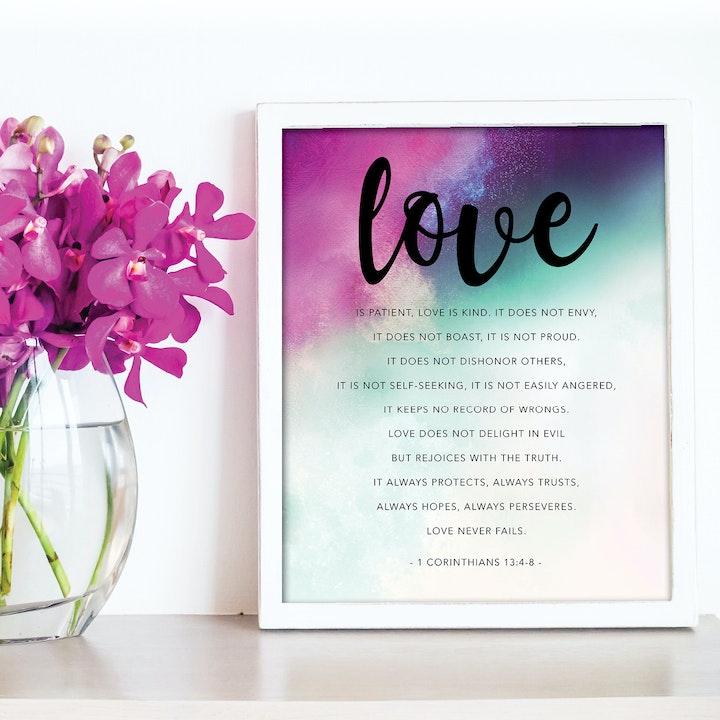 'Love' Scripture Print - 1 Corinthians 13:4-8 - Nova Grace