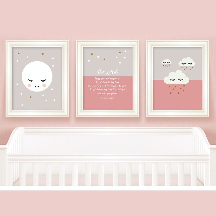 Pink Baby Room Prints - Set of 3 - Numbers 6:24-26 - Nova Grace