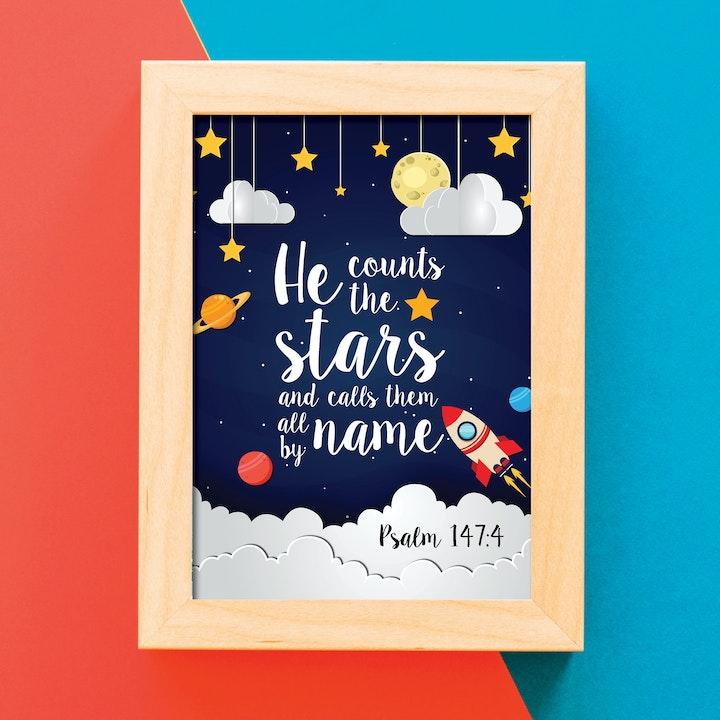 Stars Print - Psalm 147:4 - Nova Grace